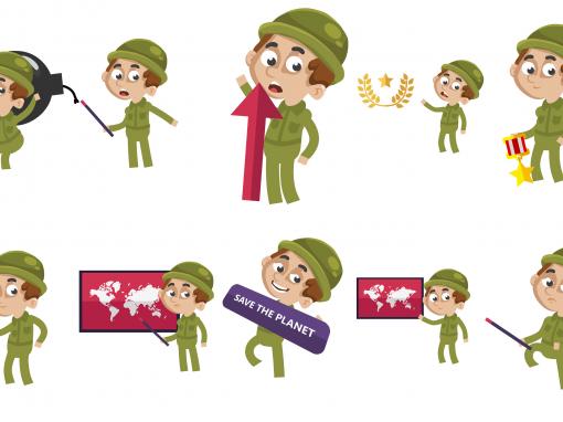 Army Animated Mascots Set