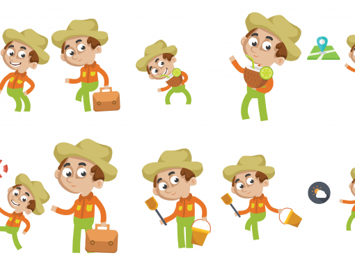 Beach Traveler Animated Mascots Set
