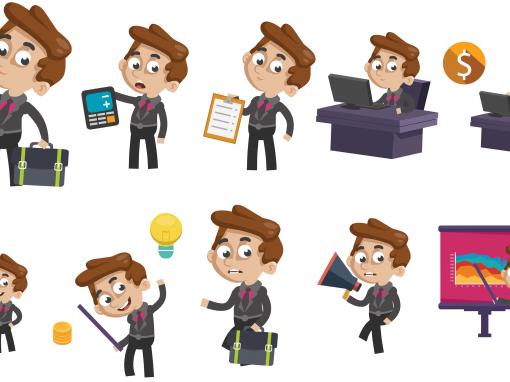 Businessman Animated Mascots Set