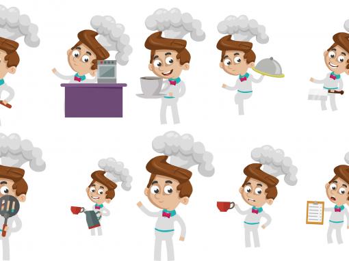 Chef Animated Mascots Set