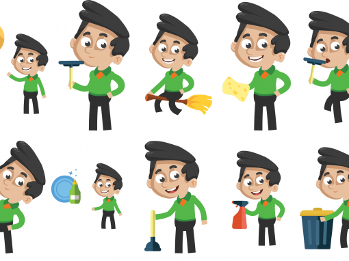 Cleaner Animated Mascots Set