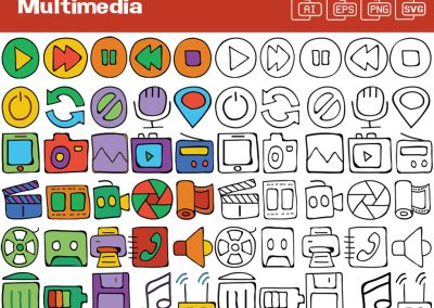 Multimedia Whiteboard Graphics Set