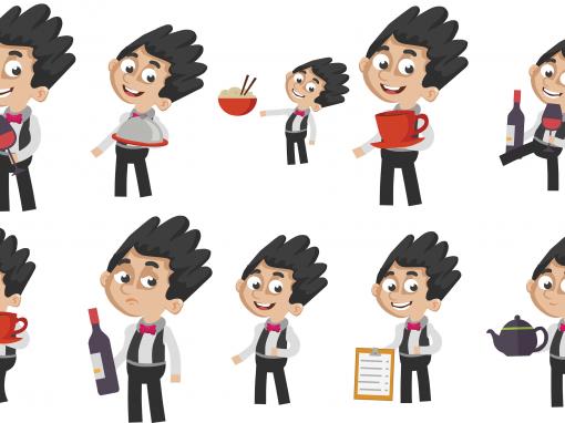 Waiter Animated Mascots Set