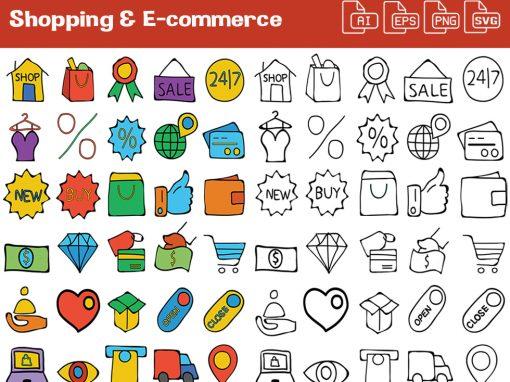 Shopping & eCommerce Whiteboard Graphics Set