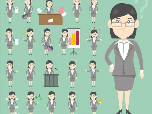 Business Female Mascots Set