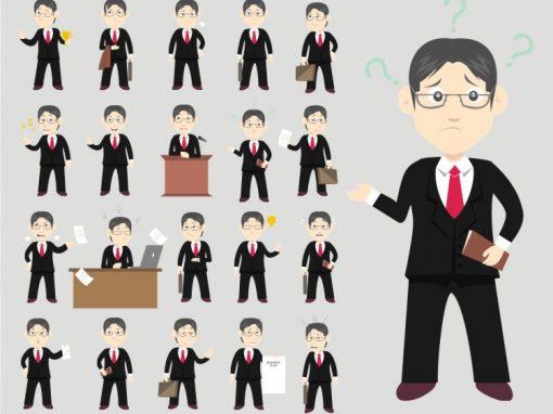 Business Male Mascots Set