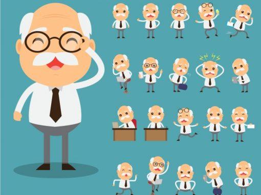Old Business Man Mascots Set