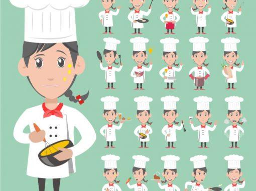 Chef Female Mascots Set