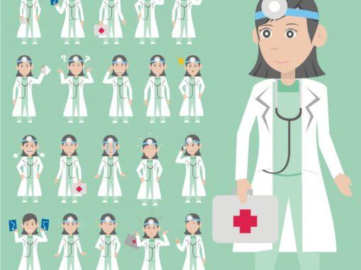 Female Doctor Mascots Set
