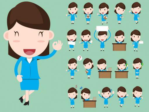 Children Female Mascots Set