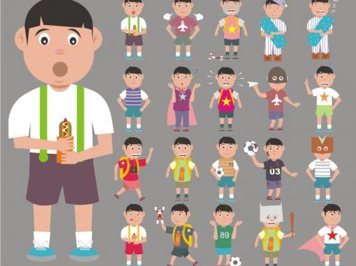 Children Male Mascots Set