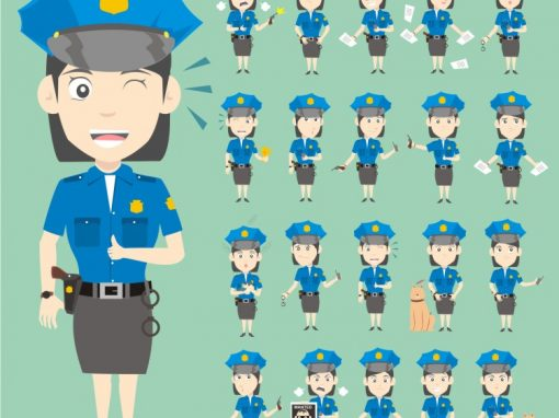 Police Woman Mascots Set