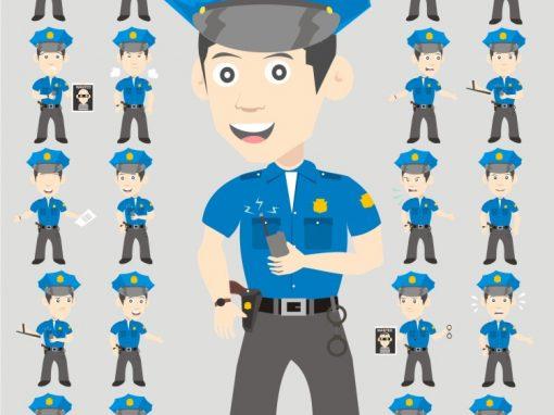 Police Man Mascots Set