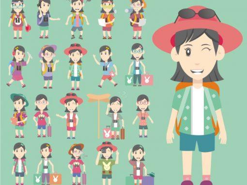 Woman Traveller Mascots Set