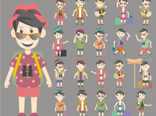 Man Traveller Mascots Set